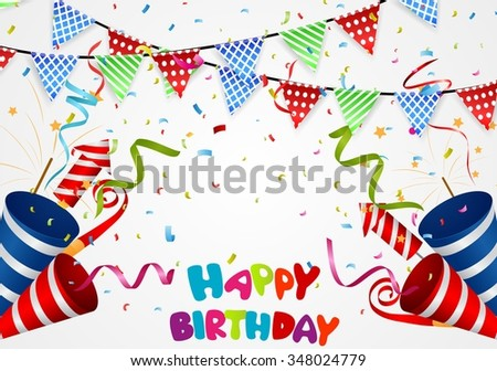 Happy birthday background with confetti  - stock vector