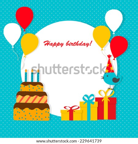 Happy Birthday background with flat icons set, vector illustration. Party and celebration design elements: balloons, cake with candles, gifts etc.   - stock vector