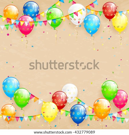 Happy Birthday background with flying colorful balloons, multicolored pennants and confetti on grunge background, illustration.