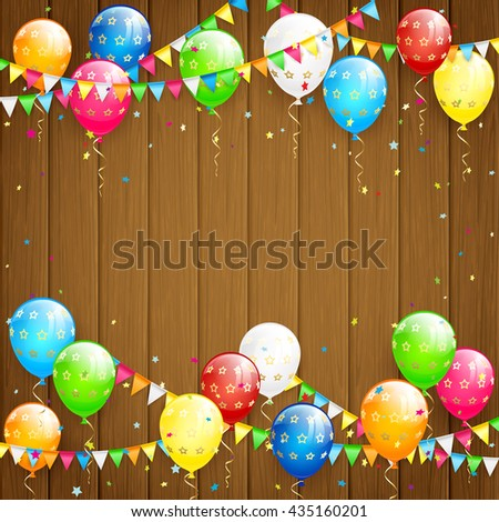 Happy Birthday background with flying colorful balloons, multicolored pennants and confetti on wooden background, illustration.