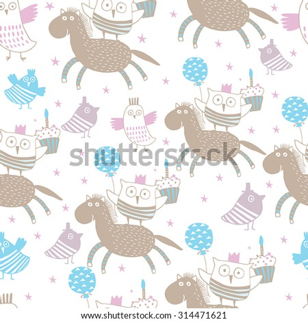 Happy birthday background with horse, owls and little birds. Seamless pattern can be used for wallpapers, web page backgrounds, surface textures. - stock vector