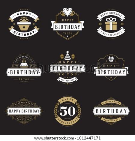 Happy Birthday Badges Labels Vector Design Stock Vector 1012447171