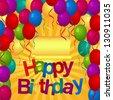 Happy birthday balloons party card - stock vector