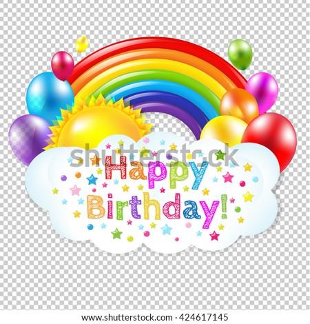 Happy Birthday Banner Banner With Rainbow  - stock vector