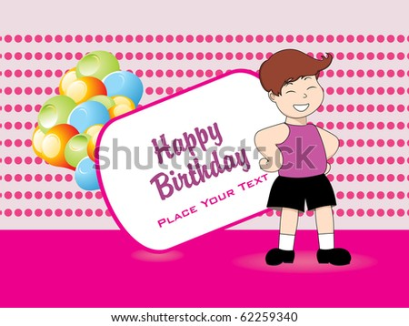 happy birthday banner with boy, colorful balloons - stock vector