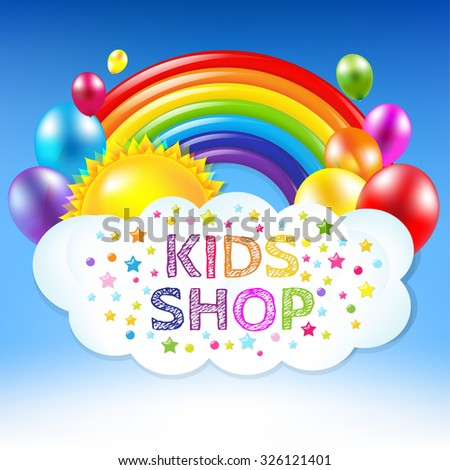 Happy Birthday Banner With Rainbow With Gradient Mesh, Vector Illustration - stock vector
