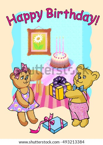Happy Birthday Bear Gives Gift His Stock Vector 493213384 Shutterstock