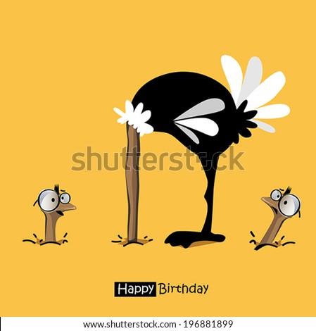 Happy Birthday birds smile birds ostrich - stock vector