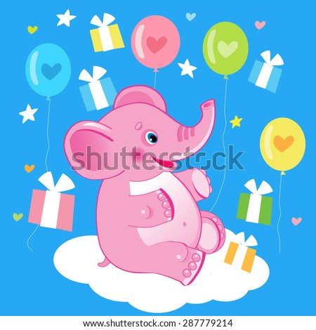 Happy Birthday Picture Cute Elephant Vector Illustration Drawing