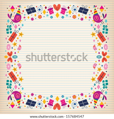 Happy Birthday Border Lined Paper Card With Space For Text  Lined Border Paper
