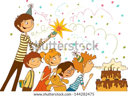 Happy birthday. Boy blows out the candles on a large cake, illustration - stock vector