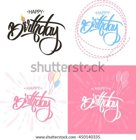 Happy Birthday Brush Script Style Hand lettering. Calligraphic Phrase Sat. - stock vector