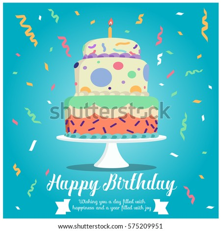 Happy Birthday Cake Ribbon Party On Stock Vector 575209951