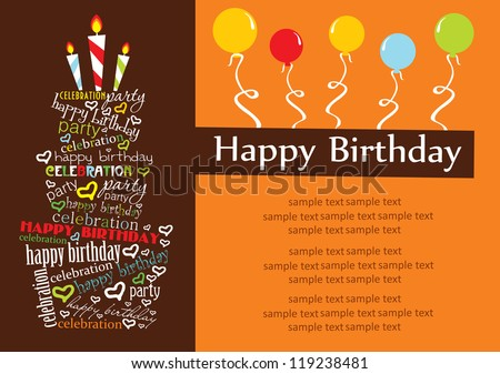 happy birthday cake card design. vector illustration - stock vector