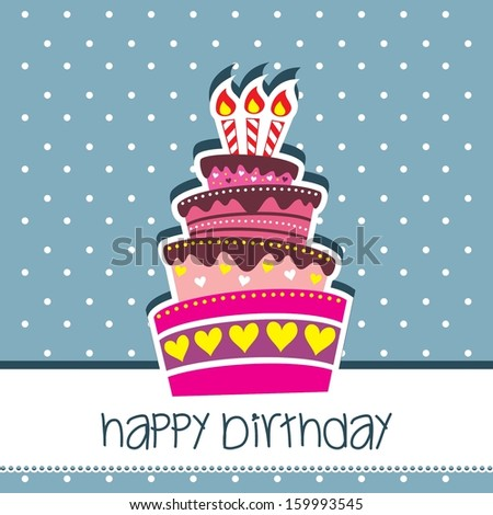 Happy Birthday Cake Card Vector Blue Background Template