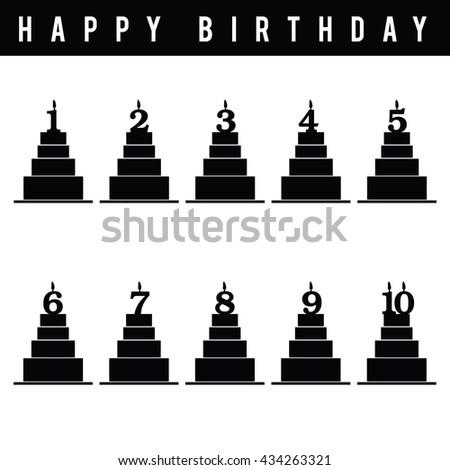 happy birthday cake illustration in black - stock vector