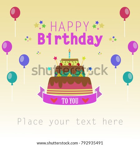 Happy Birthday Cake Candle Text Greeting Stock Vector 792935491