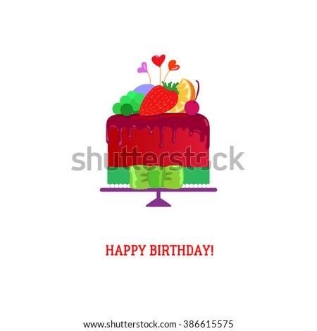 Happy Birthday Cake Chocolate Fruits Tasty Stock Vector 386615575