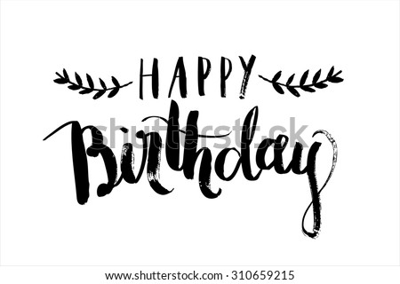 happy birthday calligraphy vector - stock vector