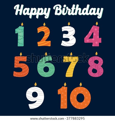 Happy Birthday Candles in Numbers for Your Family Party. Vector illustration - stock vector