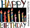 happy birthday candles. vector illustration - stock vector