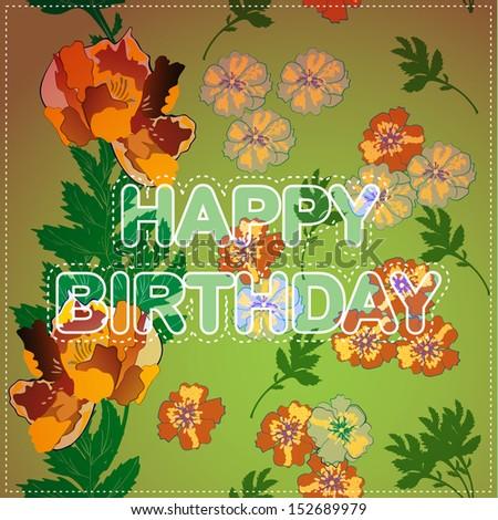 Happy birthday card - stock vector