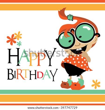 Happy Birthday card baby smile - stock vector