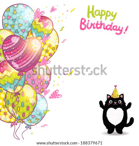 Happy Birthday card background with a cat. Vector holiday party template - stock vector