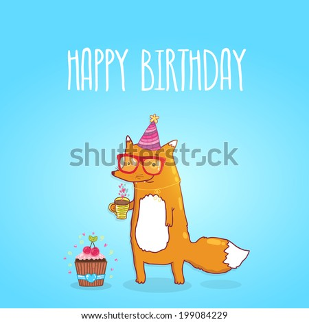 Happy Birthday card background with cute cartoon hipster fox. Vector holiday party template. Greeting postcard image. - stock vector