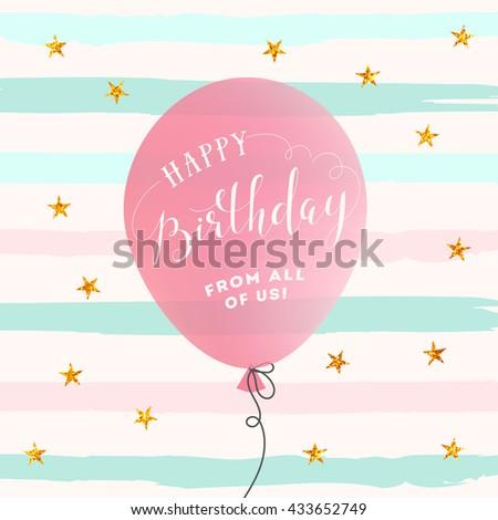 Happy Birthday card. Birthday Background with balloon - stock vector