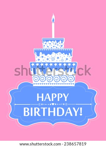Happy birthday card. Birthday cake. Vector Illustration  - stock vector