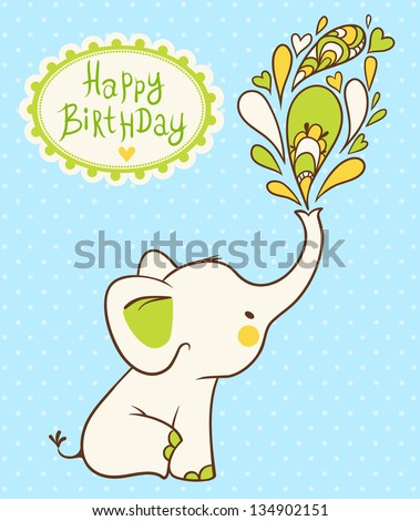 Happy Birthday Card Cartoon Elephant Wishes Stock Photo Photo