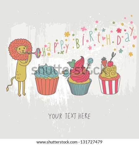Happy birthday card. Cartoon holiday wallpaper with cute lion and tasty cupcakes in vector.  Colorful childish background - stock vector