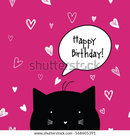 Happy Birthday Card Cat Character Template Stock Vector Royalty