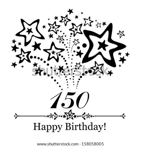 Happy birthday card. Celebration background with number hundred fifty, firework and place for your text. Vector illustration