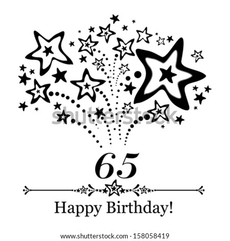 Happy birthday card. Celebration background with number sixty five, firework and place for your text. Vector illustration