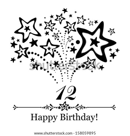 Happy birthday card. Celebration background with number  twelve, firework and place for your text. Vector illustration