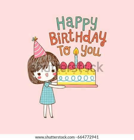 Happy birthday card cute girl holding stock vector hd royalty free happy birthday card cute girl holding a large cake with text happy birthday to you bookmarktalkfo