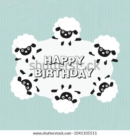 Happy Birthday Card Cute Sheep Cartoon Stock Vector Royalty Free