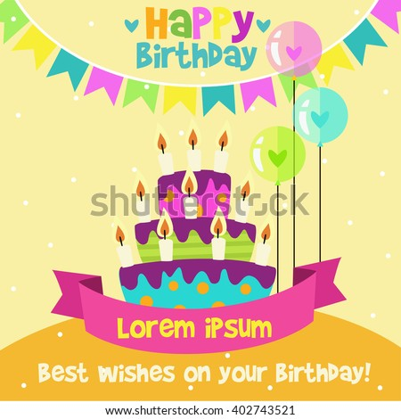 Happy Birthday card design template with image of birthday cakes and candle. - stock vector