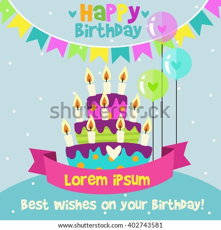 Happy Birthday card design template with image of birthday cakes, candle and speech bubbles - stock vector