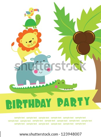 Happy Birthday Card Design Vector Illustration Stock Vector