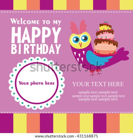 Happy Birthday Card Design Vector Illustration Stock Vector ...