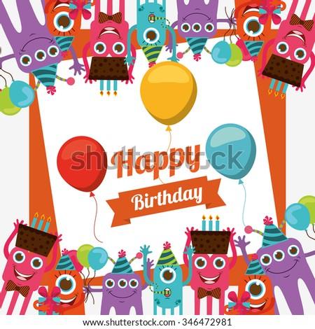 happy birthday card design, vector illustration eps10 graphic  - stock vector