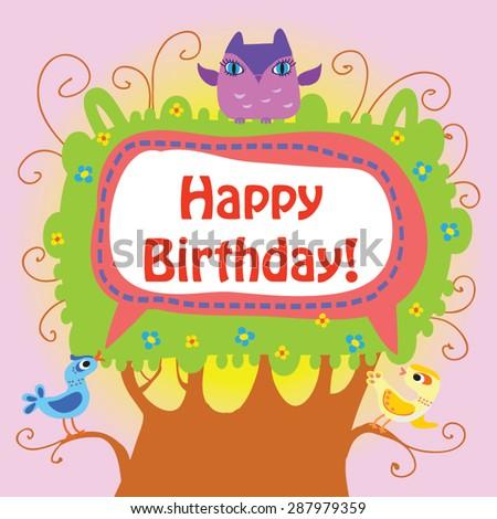 Happy Birthday Greeting Vector Illustration Cute Vector – Happy Birthday Greetings Words