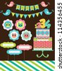 happy birthday card design. vector illustraton - stock vector