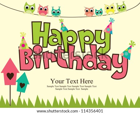 Happy Birthday Card Design Vector Illustraton Stock Vector ...