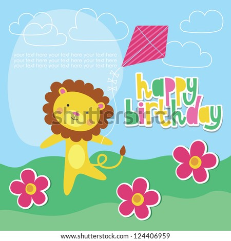 happy birthday card design with cute lion. vector illustration