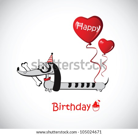 Happy Birthday Card dog Dachshund - stock vector