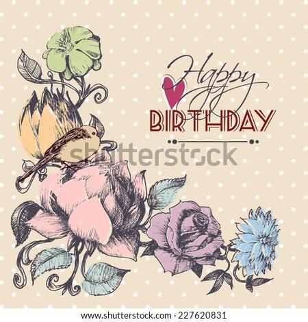 Happy birthday card, floral corner ornament - stock vector
